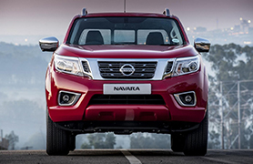 Nissan Navara red from the front