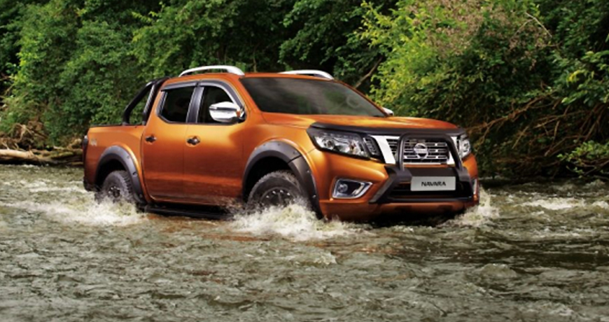 Nissan Navara in a river