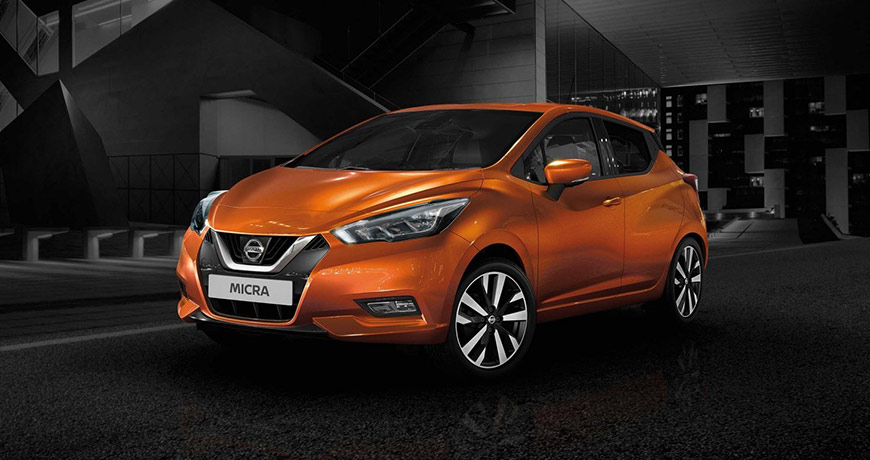 Latest Nissan Micra stands out against a black backdrop