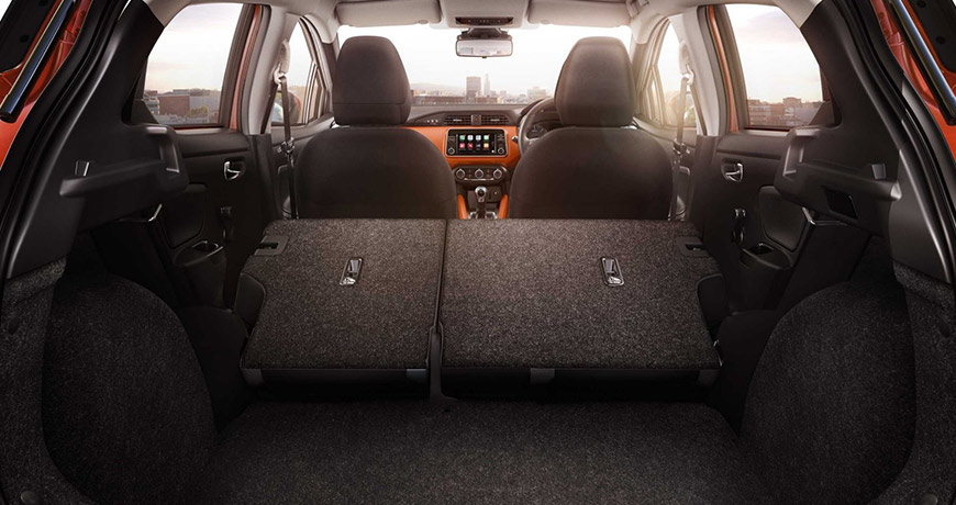 The new Nissan Micra features ample boot space of up to 300 litres
