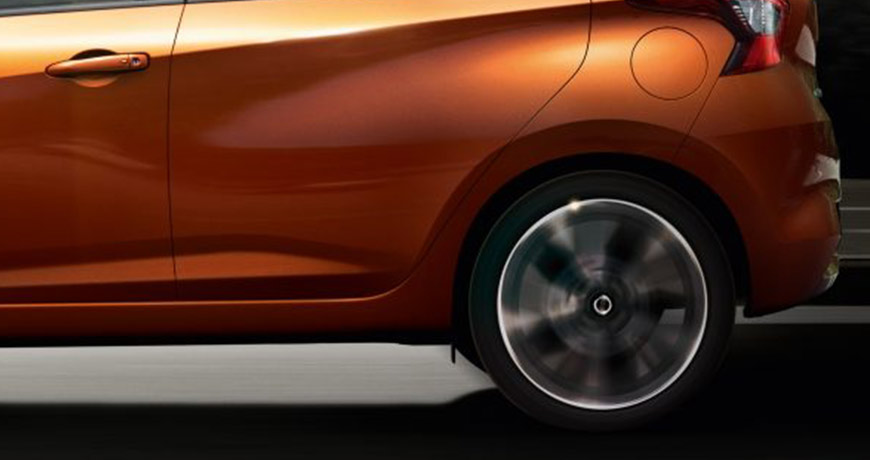 Close up of the new Micra's spinning rear wheel