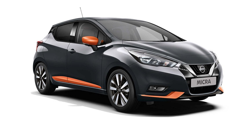 Black and Orange new Nissan Micra Acenta Plus Tech model