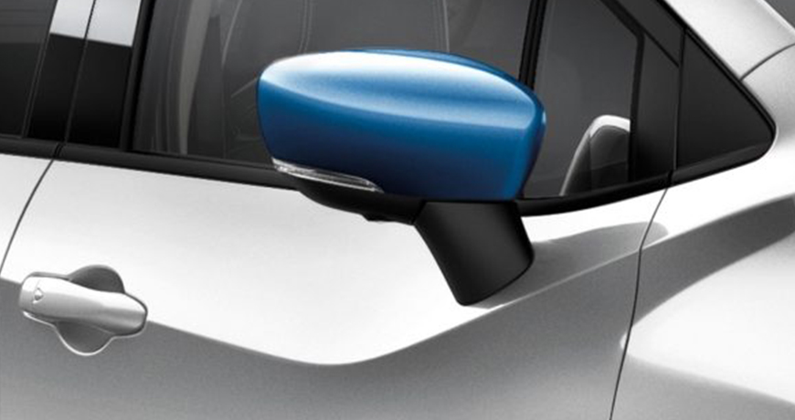 Power Blue new Nissan Micra body mirror covers