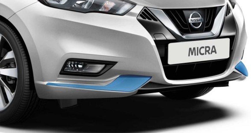 Power Blue new Nissan Micra front bumper finisher