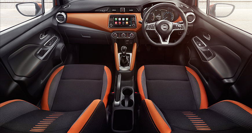 An interior view of the new Nissan Micra