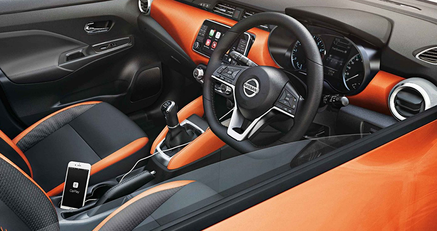Interior of the Nissan micra with smart features